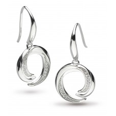Kit Heath Silver Twine Helix Pave CZ Drop Earrings