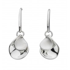 Kit Heath Silver Enchanted Double Petal Sandblast Drop Earrings