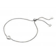 Kit Heath Silver Cubic Zirconia Miniature Sparkle Heart Bracelet