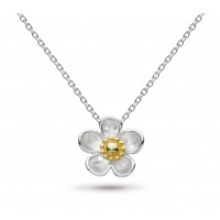 Kit Heath Silver Blossom Wood Rose Large Gold Plate Necklace