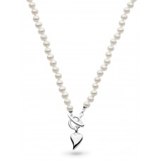 Kit Heath Silver Desire Heart Freshwater Pearl T-bar Necklace