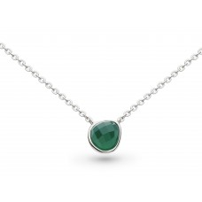 Kit Heath Silver Coast Pebble Green Agate Mini Necklace