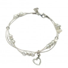 Aviv Silver Pearl And Heart Bracelet