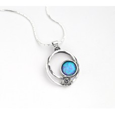 Aviv Silver Flower and Opal Pendant