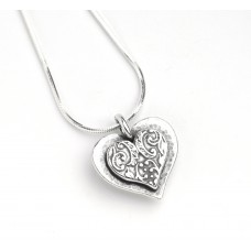 Aviv Silver Filligree Heart Necklace