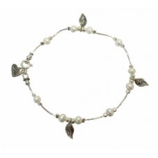 Aviv Silver Pearl And Leaf Bracelet