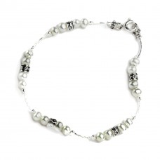Aviv Silver Pearl And Bead Bracelet