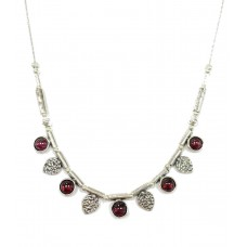 Aviv Silver Garnet And Leaf Necklace
