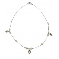 Aviv Silver Pearl And Leaf Necklace