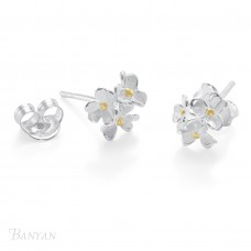 Banyan Silver Flower Cluster Studs